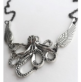 Silver Winged Octopus Cthulhu Necklace H. P. Lovecraft Inspired