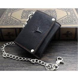 Punk rock bikers leather wallet with waist key chain b6 wallets and money clips