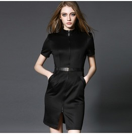 Short Sleeves Zip Up Side Pocket Black Dress