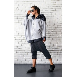 Grey Cotton Jacket / Hooded Asymmetric Jacket / Autumn Jacket/Trendy Jacket