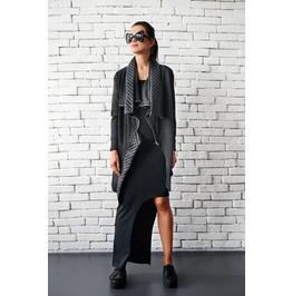 Asymmetric Grey Coat / Loose Zipper Winter Coat / Leather Detail Jacket