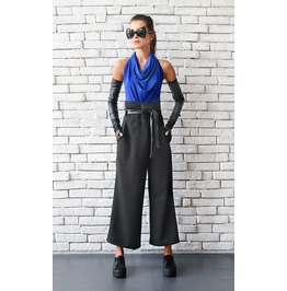 Black Maxi Pants/Loose Long Trousers/High Waist Pants/Black Casual Pants