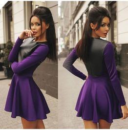 Elegant Purple Women Long Sleeve Bodycon Bandage Party Cocktail Mini Dress