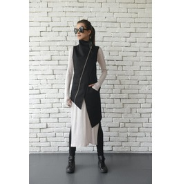 Black Asymmetric Top/Elegant Long Vest/Extravagant Sleeveless Coat