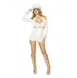 Sexy 3pc White Hot & Gold Sailor Fetish Retro Halloween Costume