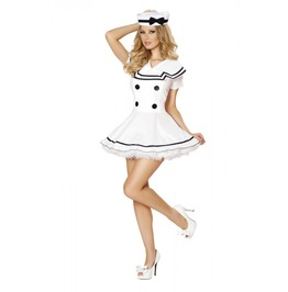 Sexy 2pc Short White Sailor Dress & Hat Fetish Retro Halloween Costume