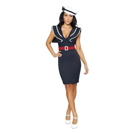 Sexy 2pc Blue Fitted Sailor Pencil Dress & Hat Retro Halloween Costume