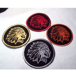 Embroidered Chief's Head Indian Head Patch Badge 4 Colors Available