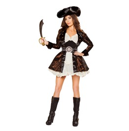 5 Pc Ladies Sexy Brocade Ruffle Pirate Beauty Halloween Costume $9 Ship