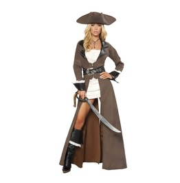 4 Pc Ladies Sexy Pirate Captain Long Jacket Halloween Costume