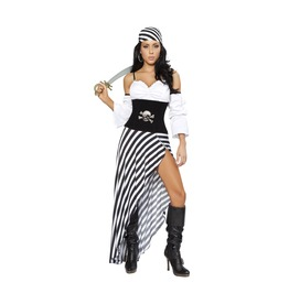 6 Piece Ladies Black White Classic Pirate Babe Halloween Costume