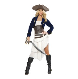6 Piece Ladies Sexy Colonial Pirate Beauty Halloween Costume