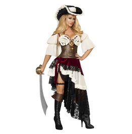 3 Piece Ladies Sexy Pirate Vixen Ruffle Halloween Costume