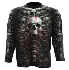 Men Black Skull New Death Ribs Biker Long Sleeve T Shirt