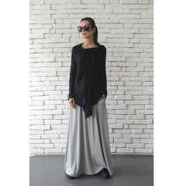 Black Asymmetric Top/Extravagant Casual Tunic/Long Sleeve Shirt/Loose Tunic