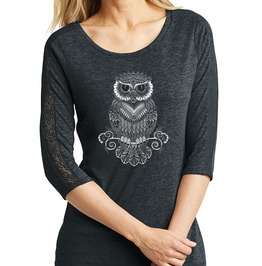 "Ladies Tri Blend Lace ""Hoot & Sexy"" 3/4 Sleeve Tee"