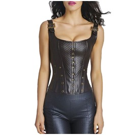 Sexy Casual Black Leather Corset