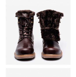 Mens 3 Colors Leather Split Boots With Fur