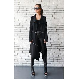 Extravagant Long Coat/Casual Zipper Jacket/Long Asymmetric Trench Coat