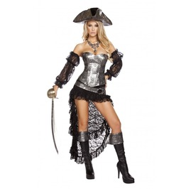4 Piece Ladies Sexy Deadly Pirate Skull Corset Halloween Costume $9 To Ship