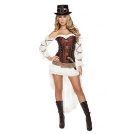 7 Piece Ladies Sexy Steampunk W Lace Up Corset Halloween Costume $9 To Ship