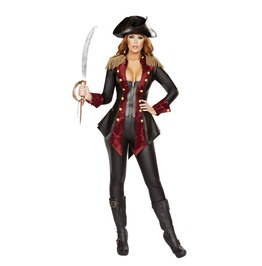 3 Piece Ladies Sleek Sexy Faux Leather Pirate Halloween Costume $9 To Ship