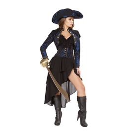 4 Piece Ladies Black And Blue Fetish Pirate Halloween Costume $9 To Ship