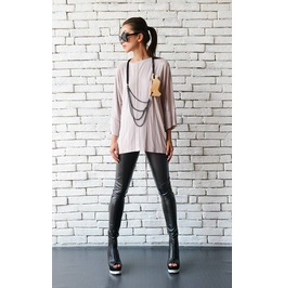 Cream Loose Tunic/Extravagant Open Back Top/Blush Pink Maxi Tunic