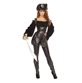 3 Piece Ladies Sexy Pirate Of The Night Skull Halloween Costume $9 To Ship
