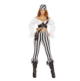 4 Piece Ladies Sexy Pirate Shipmate Striped Halloween Costume $9 To Ship