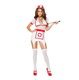 3 Piece Ladies Sexy Nurse Garter Strap Halloween Fetish Costume