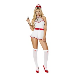 4 Piece Naughty Nurse White Red Sexy Halloween Fetish Costume $9 To Ship