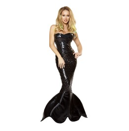 2 Pc Black Sequin Corset Sexy Mermaid Halloween Fetish Costume
