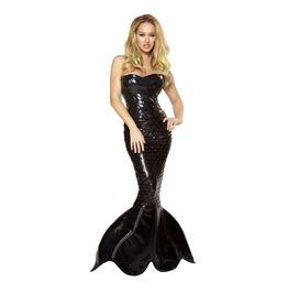 2 Pc Black Sequin Corset Sexy Mermaid Halloween Fetish Costume $9 To Ship