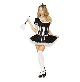 4 Pc Sexy French Maid Corset Dress Halloween Fetish Costume $9 To Ship