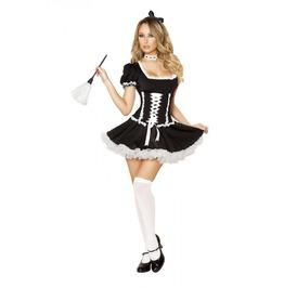 4 Pc Sexy French Maid Corset Dress Halloween Fetish Costume