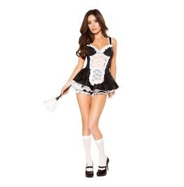 4 Pc Sexy French Maid Frilly Lacy Ruffle Halloween Fetish Costume