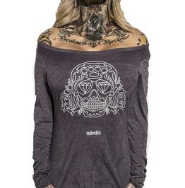 Plus Size Tri Blend Rose Skull Vintage Purple Long Sleeve Scoop Neck