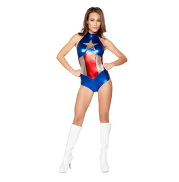 Sexy Captain America Superhero Bodysuit Halloween Fetish Costume $9 To Ship