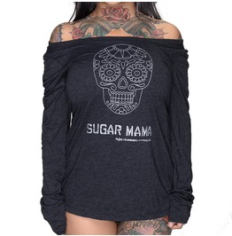 Plus Size Sugar Mama Tri Blend Long Sleeve Scoop Neck Vintage Black