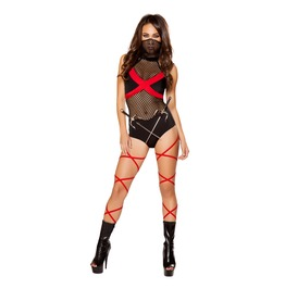 2 Pc Sexy Ninja Black Red Bodysuit Fetish Halloween Costume