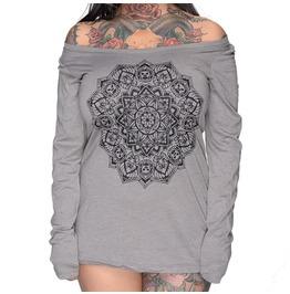 Plus Size Skull Mandala Tri Blend Long Sleeve Scoop Neck