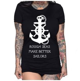 Plus Size Rough Seas Make Better Sailors Fitted Tee