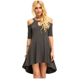 Casual Off Shoulder Irregular Length Short Dress