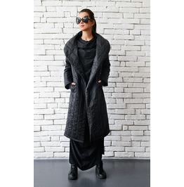 Extravagant Black Coat/Long Loose Jacket/Oversize Black Cardigan/Black Top