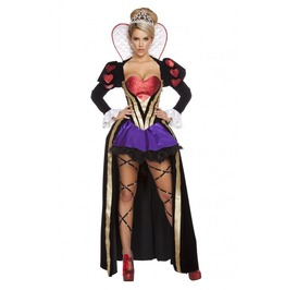 4 Piece Sexy Evil Queen Of Hearts Fetish Halloween Costume