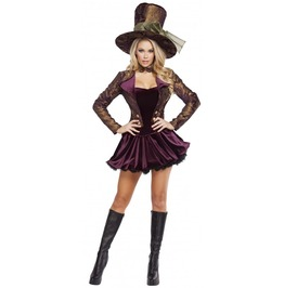 5 Pc Sexy Mad Hatter Tea Party Cosplay Fetish Halloween Costume