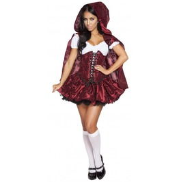 4 Pc Sexy Little Red Riding Hood Cosplay Fetish Halloween Costume