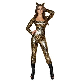 3 Pc Sexy Leopard Fetish Catsuit Halloween Costume $9 To Ship