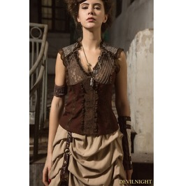 Brown Steampunk V Neck Sleeveless Top For Women